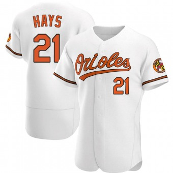 Men's Austin Hays Baltimore White Authentic Home Baseball Jersey (Unsigned No Brands/Logos)