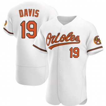 Men's Chris Davis Baltimore White Authentic Home Baseball Jersey (Unsigned No Brands/Logos)