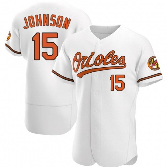 Men's Davey Johnson Baltimore White Authentic Home Baseball Jersey (Unsigned No Brands/Logos)