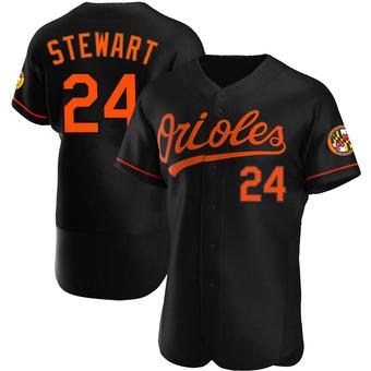 Men's DJ Stewart Baltimore Black Authentic Alternate Baseball Jersey (Unsigned No Brands/Logos)