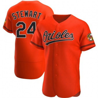 Men's DJ Stewart Baltimore Orange Authentic Alternate Baseball Jersey (Unsigned No Brands/Logos)