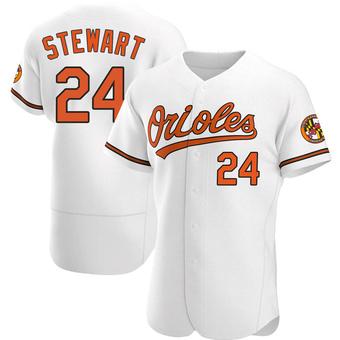 Men's DJ Stewart Baltimore White Authentic Home Baseball Jersey (Unsigned No Brands/Logos)