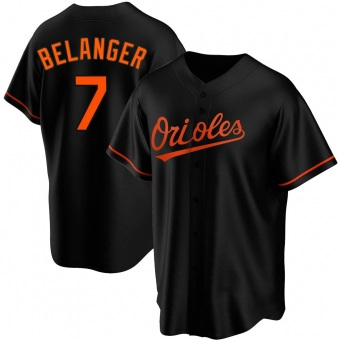 Men's Mark Belanger Baltimore Black Replica Alternate Baseball Jersey (Unsigned No Brands/Logos)
