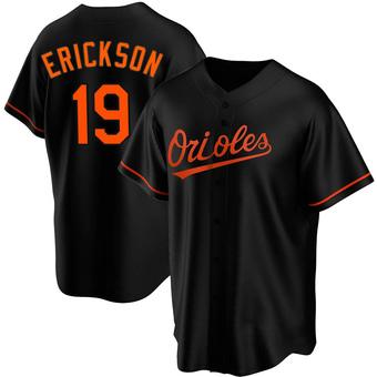 Men's Scott Erickson Baltimore Black Replica Alternate Baseball Jersey (Unsigned No Brands/Logos)