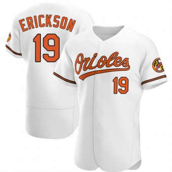Men's Scott Erickson Baltimore White Authentic Home Baseball Jersey (Unsigned No Brands/Logos)