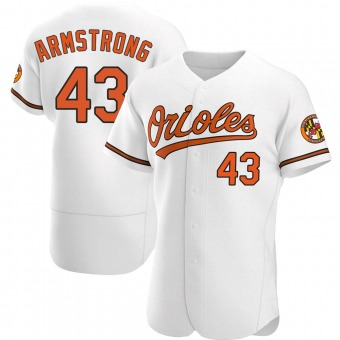Men's Shawn Armstrong Baltimore White Authentic Home Baseball Jersey (Unsigned No Brands/Logos)