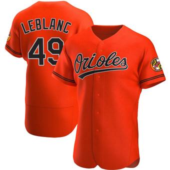 Men's Wade LeBlanc Baltimore Orange Authentic Alternate Baseball Jersey (Unsigned No Brands/Logos)