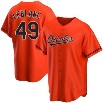 Men's Wade LeBlanc Baltimore Orange Replica Alternate Baseball Jersey (Unsigned No Brands/Logos)