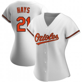Women's Austin Hays Baltimore White Authentic Home Baseball Jersey (Unsigned No Brands/Logos)