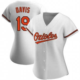 Women's Chris Davis Baltimore White Authentic Home Baseball Jersey (Unsigned No Brands/Logos)
