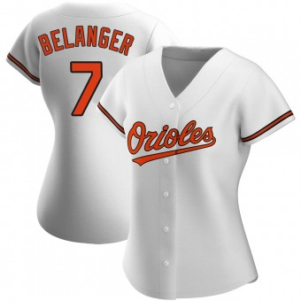 Women's Mark Belanger Baltimore White Authentic Home Baseball Jersey (Unsigned No Brands/Logos)
