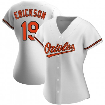 Women's Scott Erickson Baltimore White Authentic Home Baseball Jersey (Unsigned No Brands/Logos)