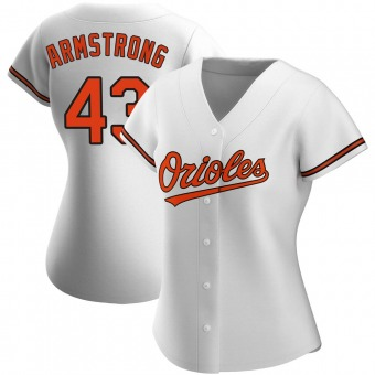Women's Shawn Armstrong Baltimore White Authentic Home Baseball Jersey (Unsigned No Brands/Logos)