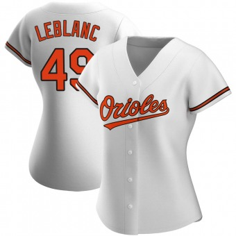 Women's Wade LeBlanc Baltimore White Authentic Home Baseball Jersey (Unsigned No Brands/Logos)