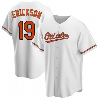 Youth Scott Erickson Baltimore White Replica Home Baseball Jersey (Unsigned No Brands/Logos)